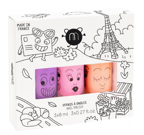 nailmatic® kids - water based nail polish 3 Pack - PARIS (Marshi/Dolly/Flamingo)